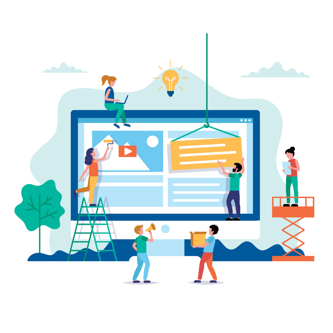 web design and development graphic showing little cartoons constructing a website like painters and construction workers